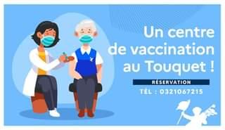 May be an image of one or more people and text that says 'Un centre de vaccination au Touquet! RÉSERVATION TÉL:0321067215 TÉL 0321067215'