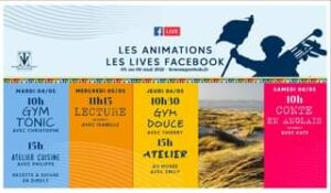 May be an image of outdoors and text that says 'LIVE M TOUQUET LES ANIMATIONS LES LIVES FACEBOOK or au 08 mai 2021 lestouquettois.fr MARDI 04/05 10h GYM TONIC AVEC CHRISTOPHE 100 MERCREDI 05/05 11h15 LECTURE DIRECT AVEC ISABELLE 15h ATELIER CUISINE AVEC PHILIPPE JEUDI 06/05 10h30 GYM DOUCE AVEC THIERRY 15h ATELIER AU MUSÉE AVEC EMILY SAMEDI 08/05 10h CONTE EN ANGLAIS DIRECT AVEC KATE RECETTE SUIVRE EN DIRECT'
